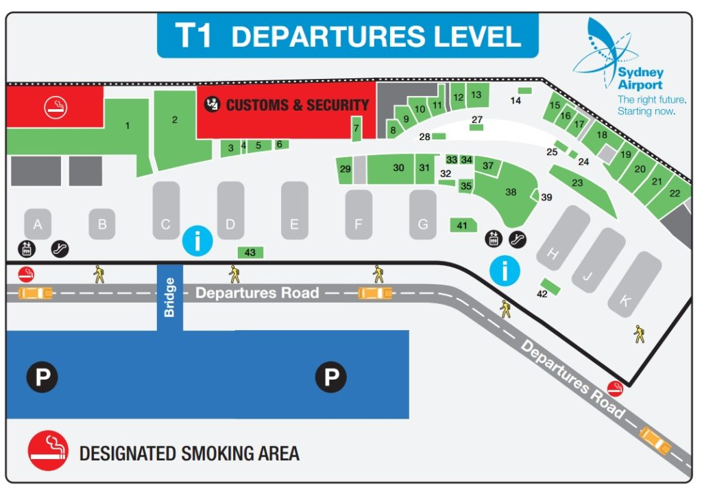 シドニー空港 国際線T1の喫煙所情報