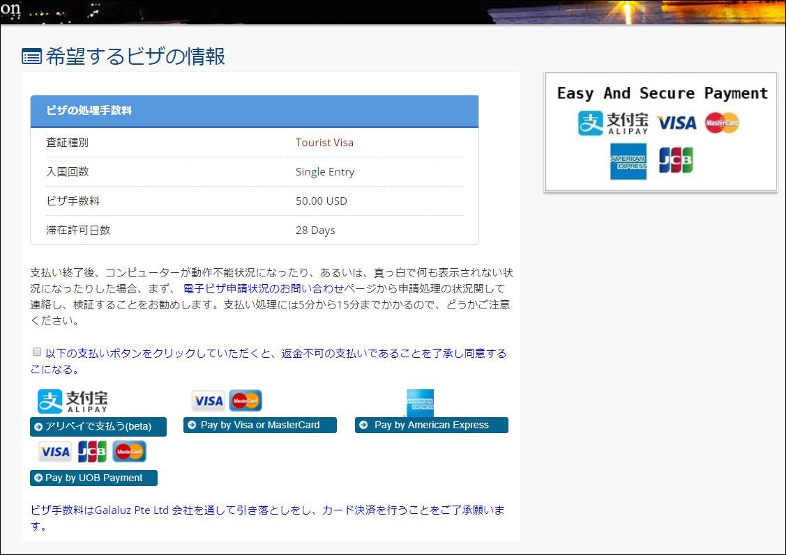 ミャンマー E-VISA ビザ 支払い方法